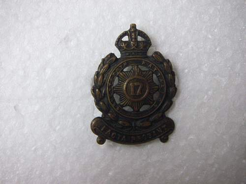 Click image for larger version.  Name:17th Battalion The North Sydney Regiment collar badge 2 1.jpg Views:53 Size:189.0 KB ID:588233