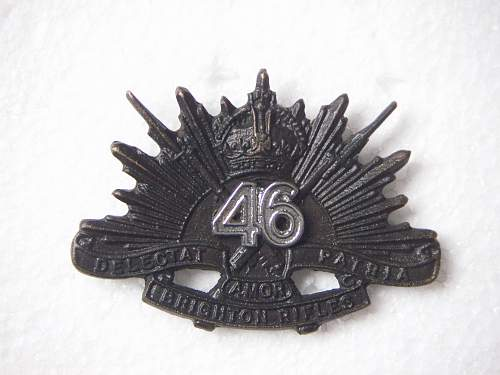 Click image for larger version.  Name:46th Battalion The Brighton Rifles Hat Badge 1 1.jpg Views:128 Size:195.1 KB ID:588236