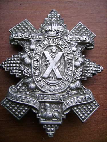 glasgow highlanders cap badge