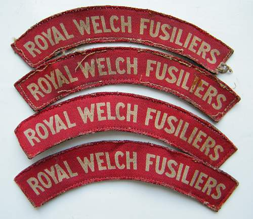 Royal Welch Fusiliers printed shoulder titles