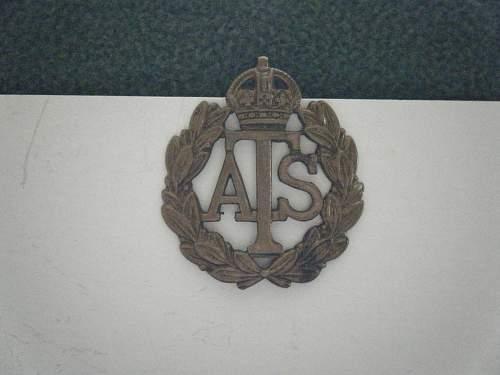 British ATS Cap Badge.