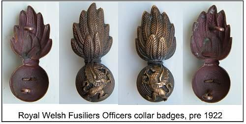 RWF bullion collar badges circa 1890