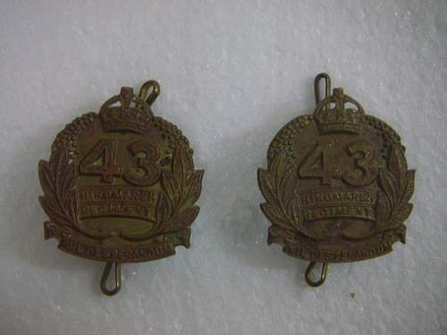 Click image for larger version.  Name:43rd Battalion The  Hindmarsh Regiment collar set  2.jpg Views:58 Size:186.3 KB ID:753647