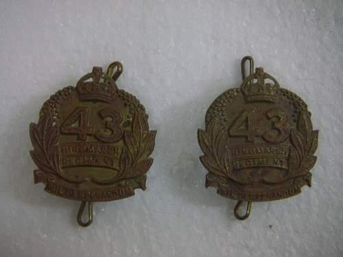 Click image for larger version.  Name:43rd Battalion The  Hindmarsh Regiment collar set  2.jpg Views:48 Size:186.3 KB ID:753647