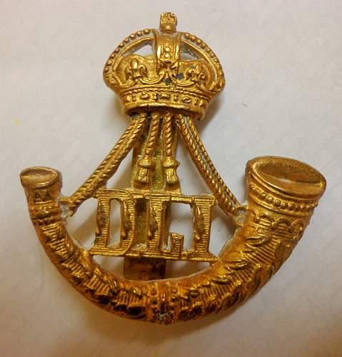 Unusual Reverse Horn Durham Light Infantry Cap Badge
