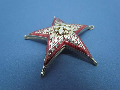 Star with Red Enamel Pin/Badge