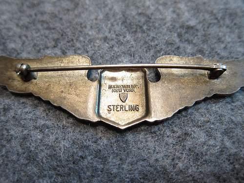 WW2 US Pilot Wings - N.S. Meyer Inc., New York, Sterling