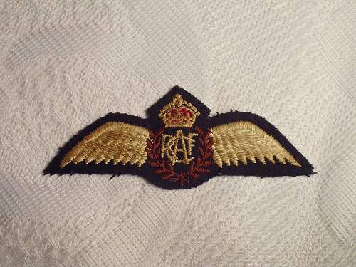 RCAF Cloth Wing Badge