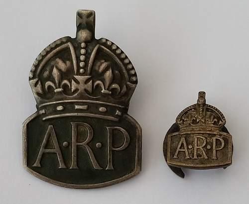Air Raid Precautions membership badges