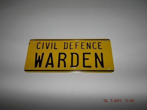 Civil Defense Warden Sign