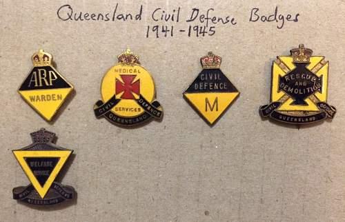 Queensland Civil Defence badges