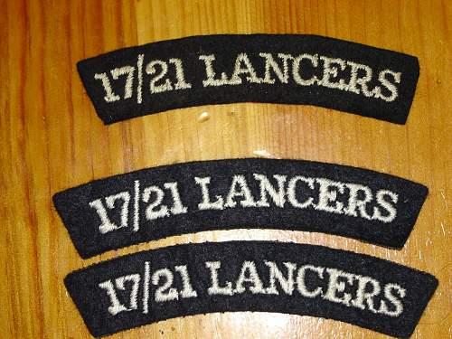 17th/21st Lancers cloth shoulder titles