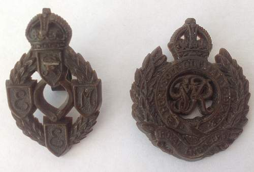 Click image for larger version.  Name:REME and RE plastic cap badges.jpg Views:15 Size:182.6 KB ID:910658