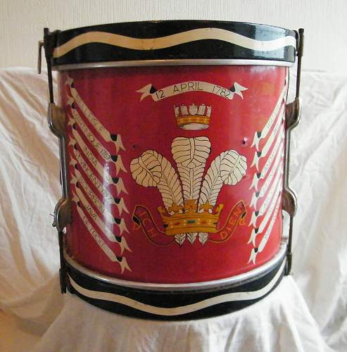 A regimental side drum for the Welch Regiment, 1953-69.