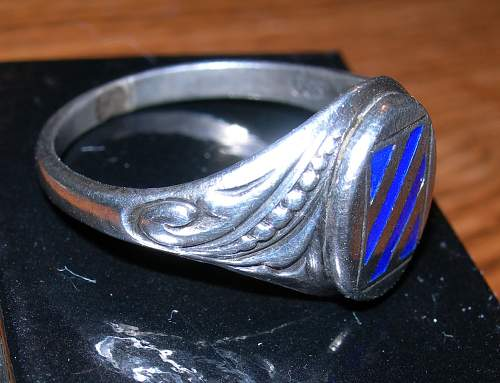 WWI US 3rd infantry silver and enamel ring