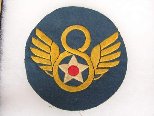 USAF mighty Eighth painted leather flight jacket badge for review please!