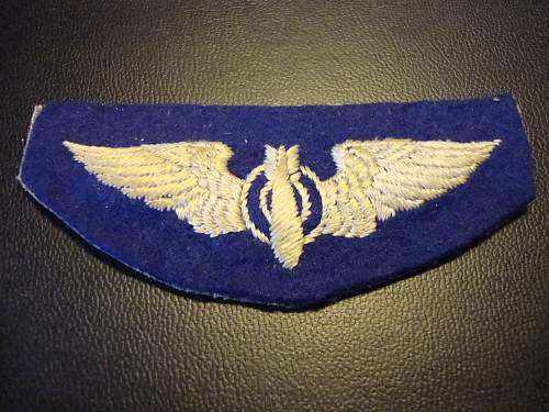 USAAF/USAF bombardier wing  padded silk badge