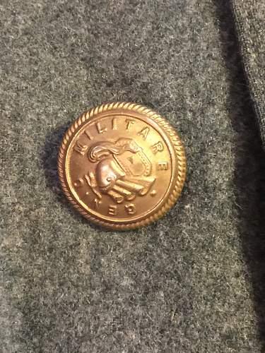 WWII Italian Officer Black leather + Wool overcoat SINGLE STAR collar tabs