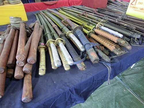 Piles of fake swords