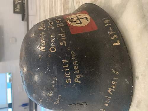 Japanese Civil Defense Helmet with USN Vet Diary painting on the shell