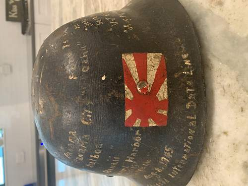 Japanese Civil Defense Helmet with USN Vet Diary painting on the shell