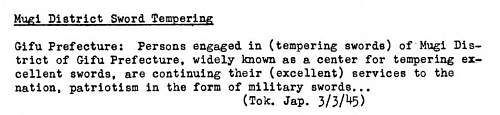 Wartime Japanese Radio Broadcasts Related To Swords