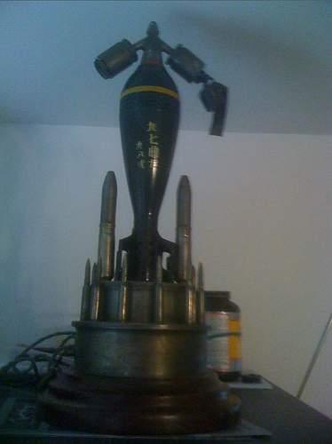 JAPANESE 81mm Mortar Lamp w. handpainted Ships Shade
