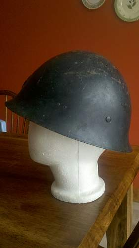 Japanese helmet, complete and period painted flat black