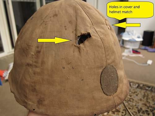 Japanese helmet, machine gun damage, japanese text inside cloth cover, translation?