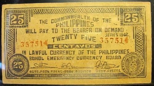 Click image for larger version.  Name:S133 Bohol 25 centavos 1942.jpg Views:122 Size:228.5 KB ID:350400