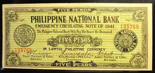 Click image for larger version.  Name:S216 Cebu 5 pesos 1941.jpg Views:238 Size:221.5 KB ID:350420