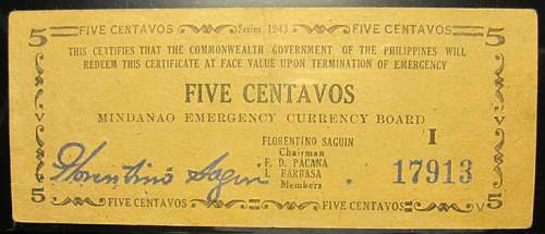 Click image for larger version.  Name:S481b Mindanao 5 centavos 1943.jpg Views:139 Size:140.3 KB ID:350497