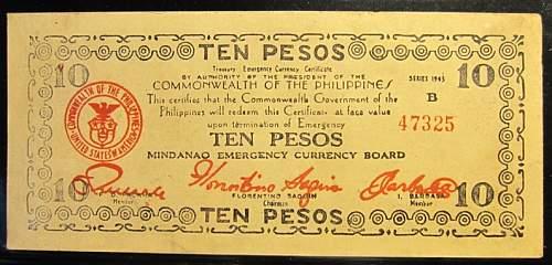 Click image for larger version.  Name:S488 x2  Mindanao 10 pesos 1943.jpg Views:121 Size:197.3 KB ID:350507