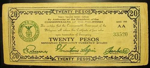Click image for larger version.  Name:S499 Mindanao 20 pesos 1943.jpg Views:164 Size:186.6 KB ID:350513