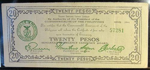 Click image for larger version.  Name:S528 a Mindanao 20 pesos 1944.jpg Views:222 Size:174.4 KB ID:350574