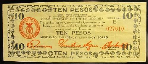 Click image for larger version.  Name:S538 Mindanao 10 pesos 1945.jpg Views:145 Size:171.6 KB ID:350579