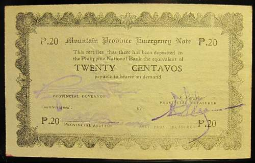 Click image for larger version.  Name:S593 Mountain Province 20 centavos 1942.jpg Views:180 Size:208.5 KB ID:350593