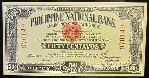 Click image for larger version.  Name:41 Philippines Emergency note 50 centavos 1917.jpg Views:262 Size:225.9 KB ID:350635