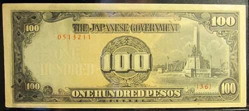 Click image for larger version.  Name:112 Japan 100 pesos 1944.jpg Views:305 Size:169.1 KB ID:350659