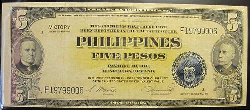 Click image for larger version.  Name:96 Philippines 5 pesos 1944 Victory.jpg Views:391 Size:193.9 KB ID:350788