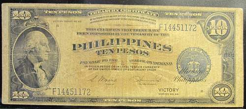 Click image for larger version.  Name:97 Philippines 10 pesos 1944 Victory.jpg Views:139 Size:193.5 KB ID:350789