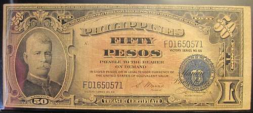 Click image for larger version.  Name:99 Philippines 50 pesos 1944 Victory.jpg Views:81 Size:211.4 KB ID:350792