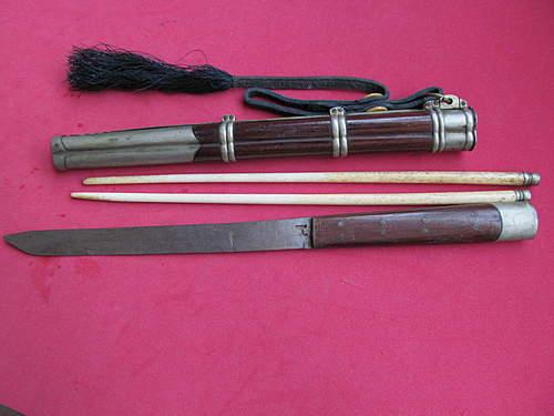 Japanese inkwell &  eating utensils
