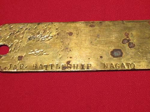 WW2 Japanese battleship Nagato, Japanese brass tag translation help please