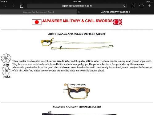 Japanese Kyo Gunto sword