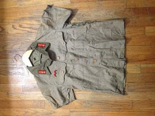 Japanese Tropical Shirt, Sergeant Tabs and Infantry Branch Insignia