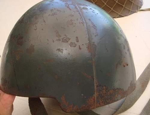Mystery solved! Heavy two piece shipboard helmet in period newsreel footage