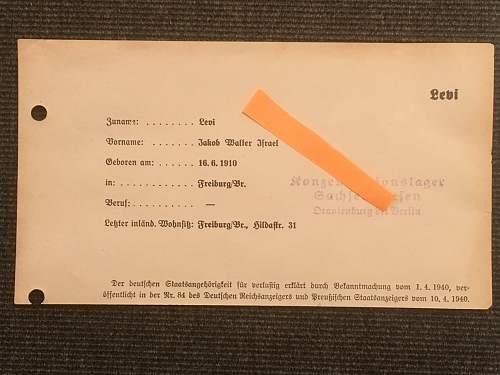 Sachsenhausen notes.