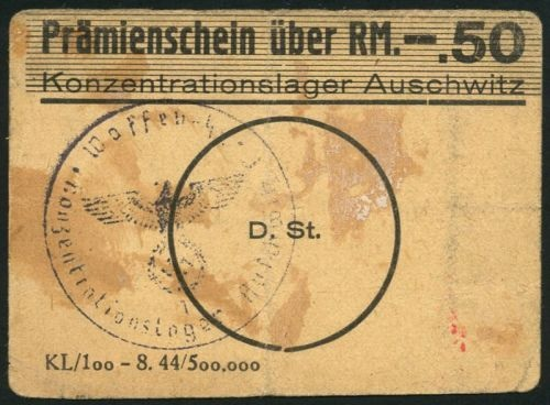 Pramienschein uber RM.-.50, Konzentrationslager Auschwitz