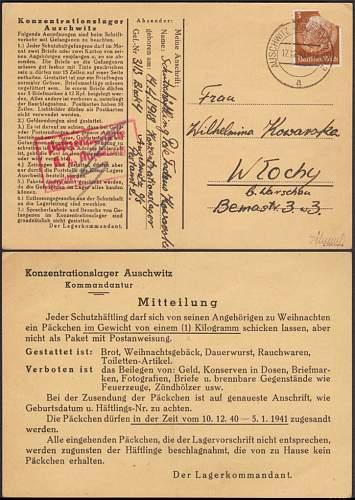 Very rare Auschwitz postal card 1940